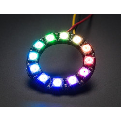 NEOPIXEL RING - 12XWS2812 5050 RGB LED W/DRIVERS ADDRESSABLE
