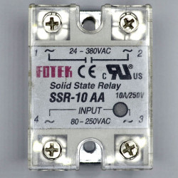 SOLID STATE RELAY,AC/AC,80-250VAC I/P,10A