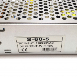 POWER SUPPLY, AC/DC, SWITCHING, 5V, 12A CHASSIS