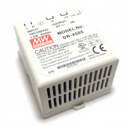 MEANWELL POWER SUPPLY DR-4505 DIN RAIL 25W 5V 5A
