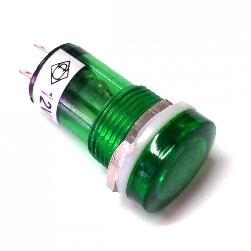 PILOT LAMP (LED) 12VDC GREEN (FLAT TOP)