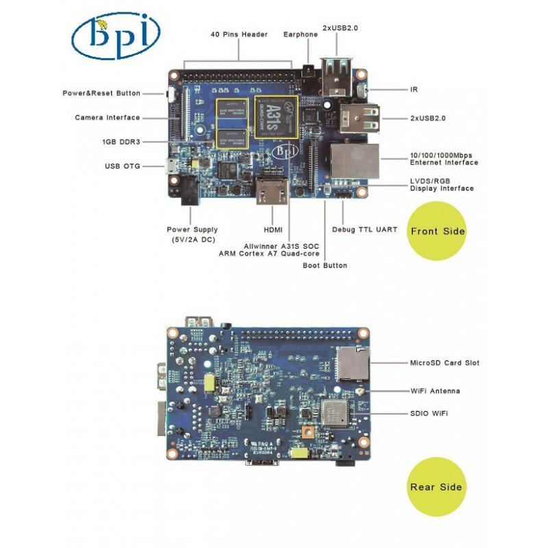 BANANA PI BPI-M2 W/ POWER ADAPTER AND ANTENNA
