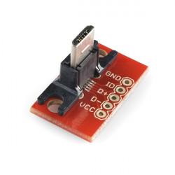 USB MICRO B PLUG BREAKOUT AT 90 DEGREES ANGLE