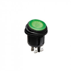 ROCKER SWITCH GREEN WATERPROOF DPST 20A 12V IP65