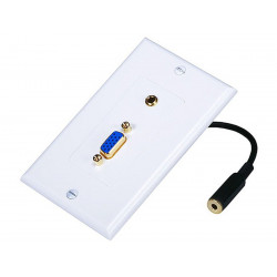 WALL PLATE VGA + 3.5MM WHITE