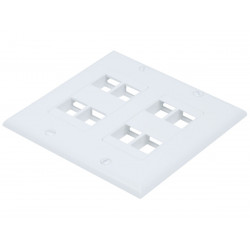 WALL PLATE 2-GANG FOR KEYSTONE 8-HOLE WHITE