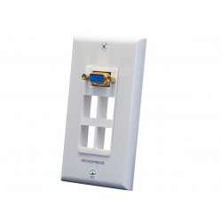WALL PLATE FOR KEYSTONE - 4 HOLE W/VGA COUPLER