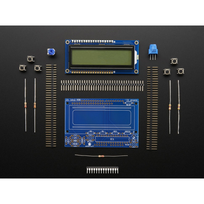 RGB LCD SHIELD KIT w/16x2 DISPLAY- ONLY 2 PINS
