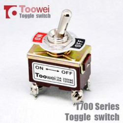 TOGGLE SWITCH, DPST,ON-OFF, 20A SCREW LUG T702 AW
