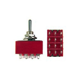TOGGLE SWITCH,4PDT,ON-OFF-ON,5A,SOLDER LUG