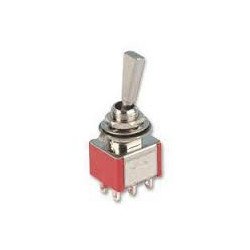 TOGGLE SWITCH W/ LEVER, DPDT,(ON)-ON,5A SOLDER LUG