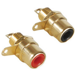 RCA GOLD PLATE JACK 2PCS RED/BLACK SLF-3859B