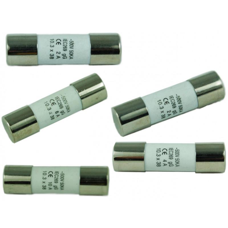 FUSES (POWER:SLOW) 500V 6A D:10XL:38MM