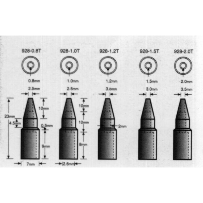SOLDERING TIPS, 928-0.8T, 0.8MM TIPS FOR SL-928