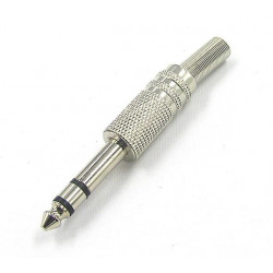 "1/4"" METAL STEREO PLUG W/STRAIN RELIEF"