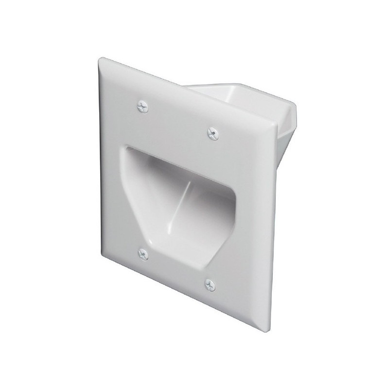 2-GANG RECESSED LOW VOLTAGE CABLE WALL PLATE