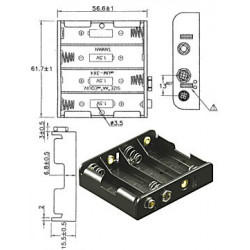 BATTERY HOLDER, AAx4, SIDE BY SIDE, w/9V CLIP