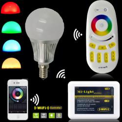 LED BULB, E27, 110V, 6W, RGB w/REMOTE CONTROLLER