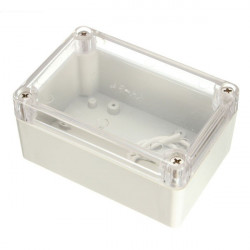 PLASTIC SEALED BOX 100X65X50MM W/ CLEAR TOP
