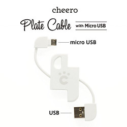 CHEERO PLATE CABLE WITH MICRO USB WHITE