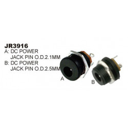 DC POWER 2.5MM JACK CHASSIS FLUSH MOUNT SLF-3916B