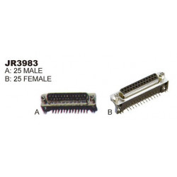 CONNECTORS, DB-25, RIGHT ANGLE MOUNT (F)