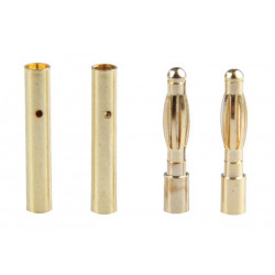 CONNECTORS, BANANA 2.0MM GOLD M/F (2 SETS)