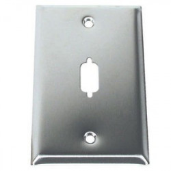 WALL PLATE VGA/DB-9 STAINLESS 1-PORT