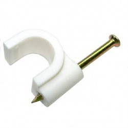 CABLE CLIPS WITH STEEL NAIL, 10MM, WHITE 10PC/PKG