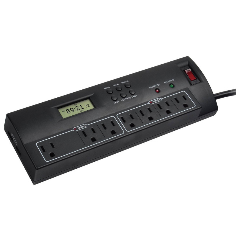 7 OUTLETS SURGE POWER BAR W/ TIMER/ USB CHARGER
