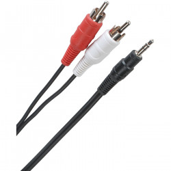 CABLE 3.5MM STEREO TO 2XRCA THINNER CABLE 5FT