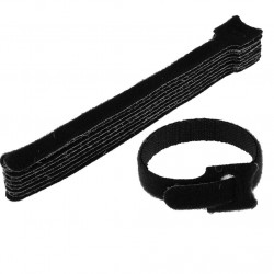 "CABLE TIE 9"" VELCRO BLACK/BLUE 10PCS"