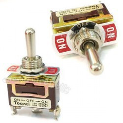 TOGGLE SWITCH, SPDT, (1)-0-(1), 15A, SCREW ON