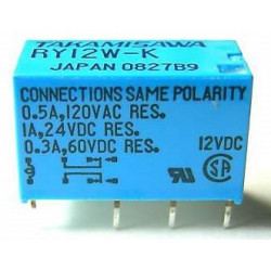 RELAY, TAKAMISAWA, RY12W-K,12VDC COIL,DPDT,1A