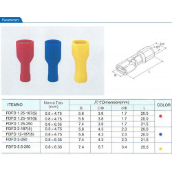 QUICK FEMALE CONNECTORS FDFD 1.25-187 10PCS
