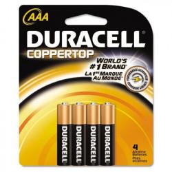 BATTERIES DURACELL COPPERTOP, 1.5V, AAA 4/PKG