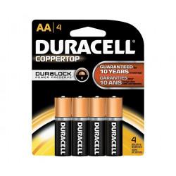 BATTERIES DURACELL COPPERTOP, 1.5V, AA 4/PKG