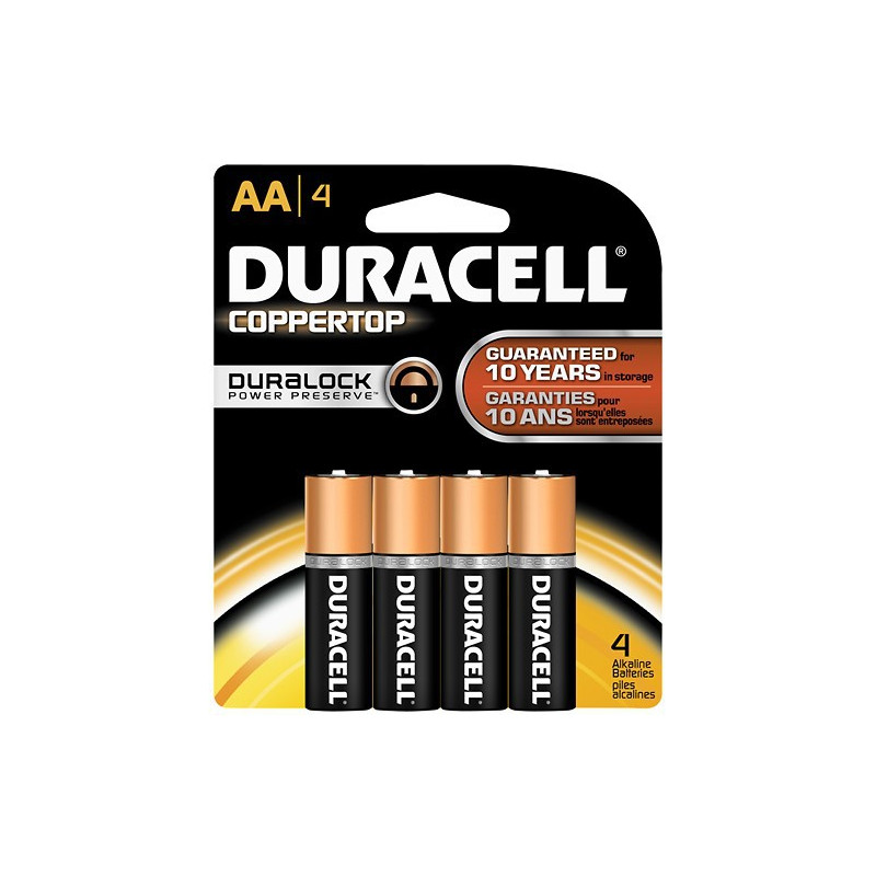 BATTERIES DURACELL COPPERTOP, 1.5V, AA 4/PKG