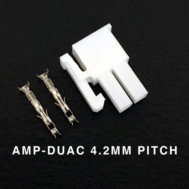 CONNECTORS, AMP-DUAC, 2 POS, 4.2MM, 9A W/PINS