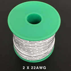2 CORE WIRE 22AWG WHITE/WHITE - 100FT/ROLL