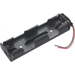 BATTERY HOLDER, AA x 4, 2 ROW BACK TO BACK, w/WIRE