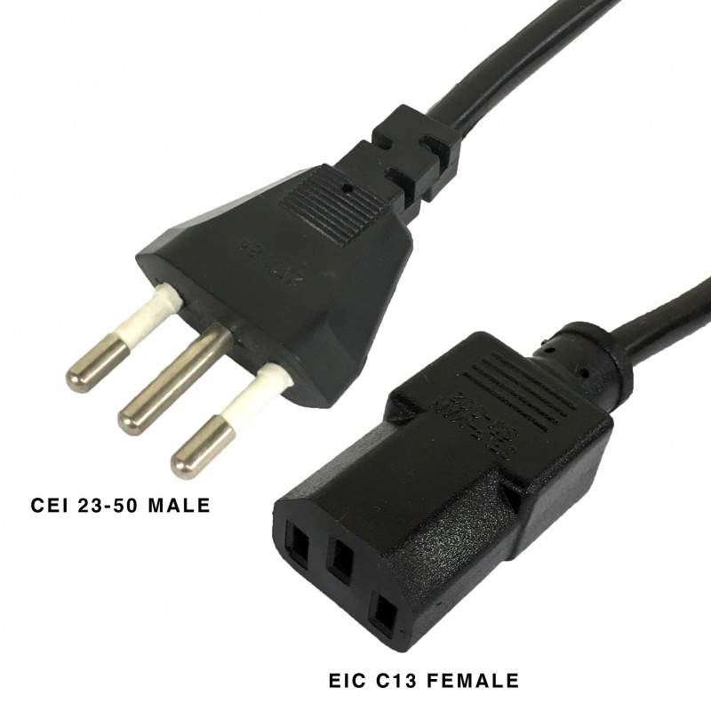 ITALY CEI 23-50 MALE AND IEC C13 FEMALE CABLE 1.8M