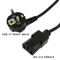 EUR CEE 7/7 RIGHT MALE AND IEC C13 FEMALE CABLE 1.8M