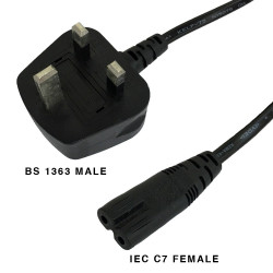 BS 1363 FUSED RIGHT MALE AND IEC C7 FEMALE CABLE 1.8M