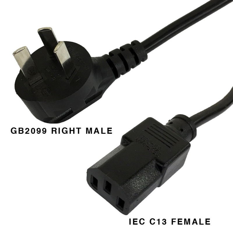 GB2099 RIGHT MALE AND IEC C13 FEMALE CABLE 1.8M