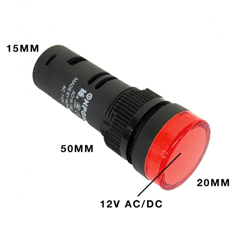 PILOT LAMP LED 12VDC RED W/ SCREW TERMINAL AD16