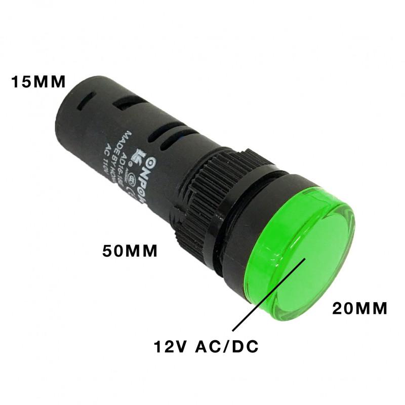 PILOT LAMP LED 12VDC GREEN W/ SCREW TERMINAL AD16