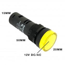 PILOT LAMP LED 12VDC YELLOW W/ SCREW TERMINAL AD16
