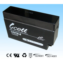 BATTERY, RECHARGEABLE SLA, LEAD ACID, 12V, 0.8AH