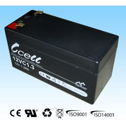 BATTERY, RECHARGEABLE SLA, LEAD ACID, 12V, 1.3AH